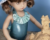 Reserved for Jackie - Little Darling Swimsuit, Sun Hat and Embroidered Towel, Fits 13 Inch Dianna Effner Doll and Similar