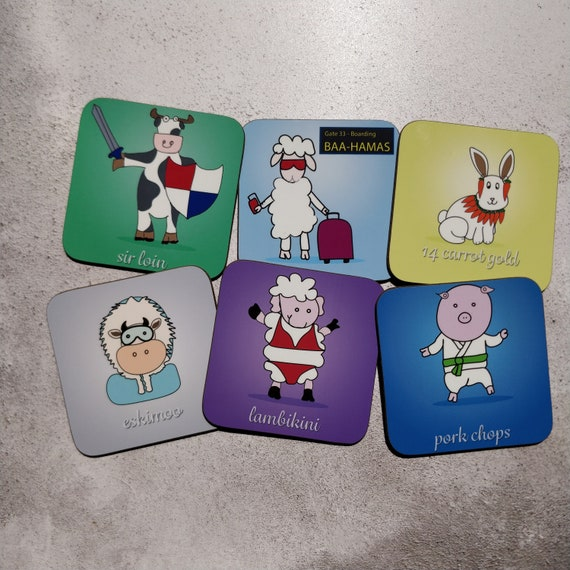 4 Coaster Special Offer - sheep coaster, cow coaster, illustration, funny coaster, pun coasters, homeware