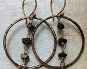 Blackened Hammered Brass Hoop Earrings with Black Tourmaline