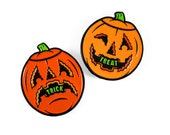 Trick or Treat Pumpkin Enamel Pin Set of 2 - Halloween, Jack-o-lantern, Pumpkin, Blow Mold, Soft Enamel Lapel Pin