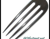 4 Prong 5 1/2 inch Buffy Style Hair Fork made from Gabon Ebony Natural Wood - 6916BU