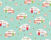 LAMINATED cotton fabric by the yard - Sold by the 1/2 yard - Aqua Campers Vintage Adventures - EXCLUSIVE - Approved for children's products