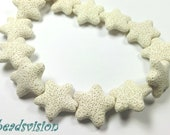 1 strand Lava Star 24 x 8 mm Cream white beads