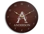 Personalized brown wall clock. Monogram wall clock. Wood wall clock.  Anniversary clock. Family name clock. 11 inch clock. 13 inch clock