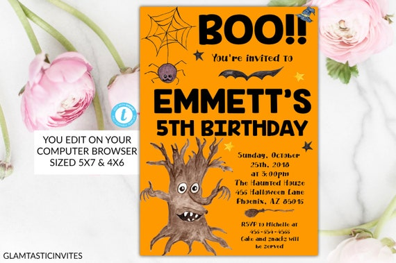 halloween birthday invitation template boo spooktacular editable