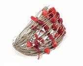 CORAL RED, linen bracelet, bracelet with coral, linen and coral red, bracelet for her, beautiful bracelet, linen bracelet for woman, Jagna