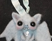 Blue  bat necklace Original one of a kind art doll