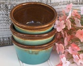 Condiment Bowl Set - Trio of Tiny Kitchen Bowls, Prep Bowls, Mise En Place Bowls, Southwest Colors, Stoneware Snack Bowls, Kitchen Decor