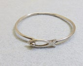 Ichthys, Christian Fish Symbol Cross Sterling Silver Bracelet