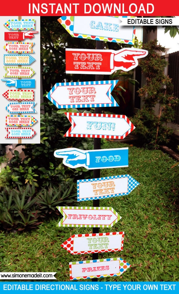 carnival signs direction arrows carnival party decorations
