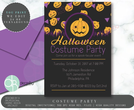 costume party pumpkin party invitation halloween party flyer