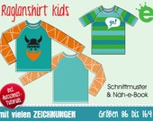 Longsleeve with raglan sleeves for kids •sewing pattern, GERMAN instructions • EU sizes 86–164 • childrens' unisex shirt T-shirt download
