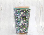Succulents with Black Stripes Iced Coffee Cozy, Cactus Coffee Cozy, Cup Cozy, Iced Coffee Cozy, Cup Sleeve, Coffee Cuff, Drink Sleeve