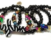 Colorful Beaded Bracelets, Zebra Print, Cross Bracelet, Black, Gold, OOAK, Women Jewelry, Custom, Handmade Beaded Jewelry