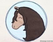 Stickdatei Pferde Button 10x10 Doodle Applikation