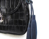 Ready to Ship NAVY BLUE Double-Ended Leather Tassel, Bag Charm, Bag Accessory, Perfect Gift for Her