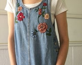 Denim jumper with floral embroidery