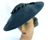 1950s Women's Hat Styles & History Vintage 1950s Navy Blue Straw Wide Brim Platter Sun Hat Pearl Velvet TrimMindy by Mary Roth $79.00 AT vintagedancer.com