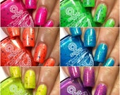 Fruity Flakies (full 6 piece collection) - Neon, Shimmer, Flakies nail polish