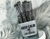 Keep Calm and Contour Makeup Brush Holder, Liquid Lipstick Jar, Brow Pencil and Lip Liner Holder, Moondust Silver Glitter, Glitter Holder