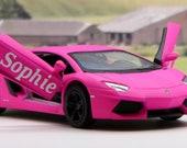 PERSONALISED NAME Personalized Name Gift Pink Diecast Lamborghini Toy Girls Car Mum Model Birthday Present Christmas Present Stocking Filler