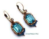 Vintage style earrings -aquamarine