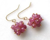 Pink Sapphire Confetti Cluster Earrings...Genuine Pink Sapphire Earring, Pink Gemstone Earring, Umba Sapphire Earring, Real Sapphire Earring