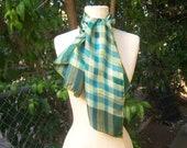 70s Vera silk scarf, plaid forest green khaki long scarf, hand rolled edges, Vera Neumann scarf, 43 x 13 inches
