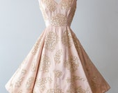 Vintage 1950s Dress - 50s Harvey Berin Blush Satin Cocktail Party Dress With Lace Appliqué and Pearls  // Waist 25
