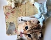 6 Cat Lover Gift Tags, 2 Sizes, Sweet Kitten Cat Party Favor Tags, Hang Tags, Takuniquedesigns