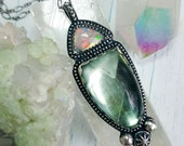 Ethiopian Opal and Fluorite Necklace in Sterling Silver