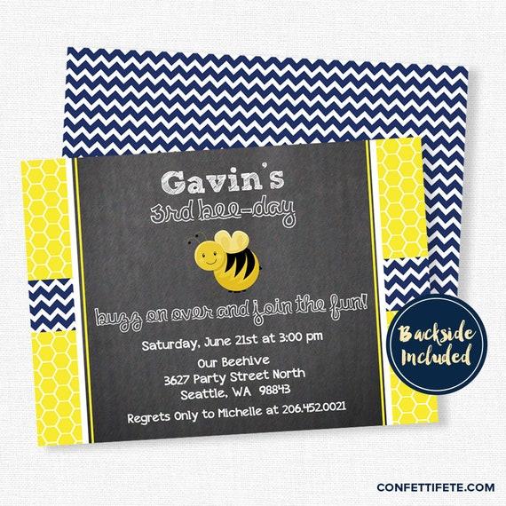 Bumble bee birthday invitation chalkboard invitation bee party il570xn filmwisefo