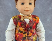 """Autumn Leaves Vest for 18"""" Boy Dolls.  Thanksgiving  3 button waistcoat w/ 2 real pockets. Made to fit American Girl Boy dolls."""
