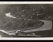 Vintage Photo Through the Windshield The Road Up to Pike's Peak 1930's, Original Found Photo, Vernacular Photography