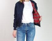 Vtg Navy Blue Tartan Plaid Lining Harrington Jacket Size S