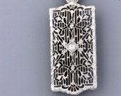 Wonderful 10K White God Filigree Convertible Brooch with Milgrain