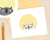 Good Morning Pugshine - funny pug card, cute pug stationery, funny card, any occasion card, dog card, black pug doodle art card by Inkpug