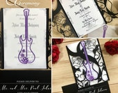 Rock N roll wedding laser cut gatefold invitation guitar and roses rocker party alternative bride