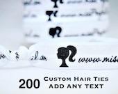 200 Custom Hair Ties, ADD ANY TEXT, Custom Printed Hair Ties, Fundraising, Advertising, Marketing, Handmade Promotional Item, Customize Logo