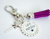 Porte-clés personnalisable,bijou de sac,Super Marraine,pompon,aubergine