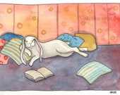 Reserved for B - Original Watercolor Rabbit Painting - Sleeping Lop