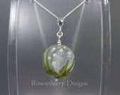 Lily of the Valley Pendant and Chain - Art Nouveau Handmade Lampwork Glass & 925 Sterling Silver - Rowanberry Designs SRA - Art- LILP1