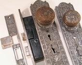 XL Bronze Eastlake Entry Door Lock Knob Plate Set NORWALK LH - Antique Victorian Hardware