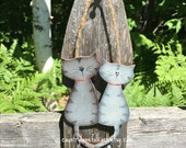 Gray tabby cat ornament, cat Christmas ornaments, cat lover gift, crazy cat lady gift,  painted wooden ornament, unique Christmas ornaments