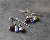 Alchemist Drops. Pyrite, Garnet and Quartz Dreamcatcher Earrings in Sterling Silver.