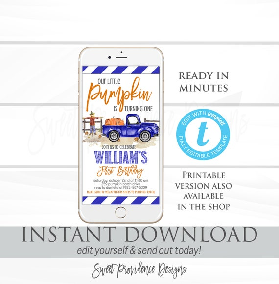 Pumpkin Birthday Invitation Blue Truck Patch Fall Electronic Phone Text Invite Editable Instant Download
