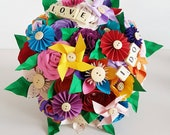 Alternative bouquet wedding flowers paper origami rose kusudama hoop multi colour bright rainbow fun scrabble letters pinwheel theme beach