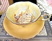 PARAGON tea cup and saucer PATRIOTIC series peach teacup wide mouth