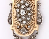 Gold and Sterling Silver Vintage Brooch with Diamonds