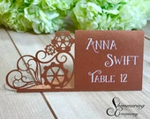 Steampunk laser cut place cards wedding name cards gears and hears table setting decorations escort